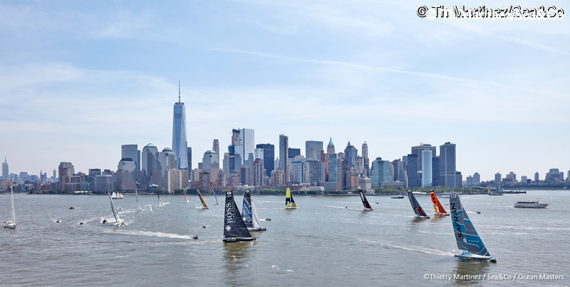 16_11955-NY-VENDEE(Les Sables)-Start : 16_11955  ©Th.Martinez/Sea&Co/OSM.  NEW YORK CITY - NEW YORK- USA. 29 MAY 2016. Start of NEW YORK-VENDEE (Les Sables d?Olonne) presented by Currency House & SpaceCode, (Single-Handed transatlantic sailing race from New York-USA to Les Sables-FRA -3100 NM . © Th.Martinez/Sea&Co